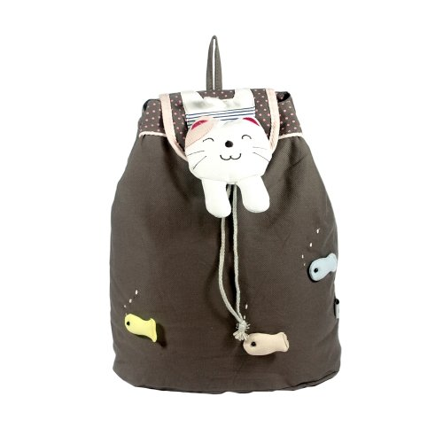 [Catch The Fish] 100% Cotton Fabric Art School Backpack / Outdoor Backpack front-925964