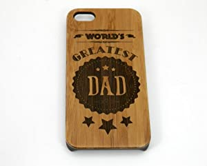 World's Greatest Dad iPhone 5 5S Case Cover. Father's Day Gift on Eco-Friendly Bamboo Wood. Rustic Dads Daddy Man Men Husband.