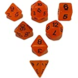 Orange Color- Set Of 7 Glow In The Dark Polyhedral Dice (7 Die In Set)- Role Playing Game Dice- D4, D6, D8, D10...