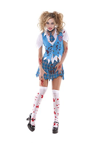 [Sexy Women's Zombie School Girl Specter Adult Roleplay Costume, Large, Blue/Plaid] (Dead School Girl Costume)