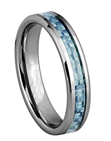 buy King Will 4Mm Unisex Tungsten Ring Baby Blue Carbon Fiber Inlay Wedding Band Beveled Edges Engagement Ring(6.5)