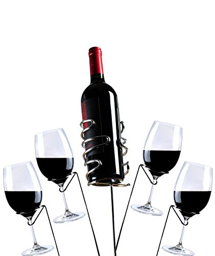yohino Stainless Steel Wine Stakes - for 4 Glasses and 1 Bottle - 5 pieces