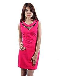 Envy Women's Blended Round Neck Dress (Fushia, Free Size)