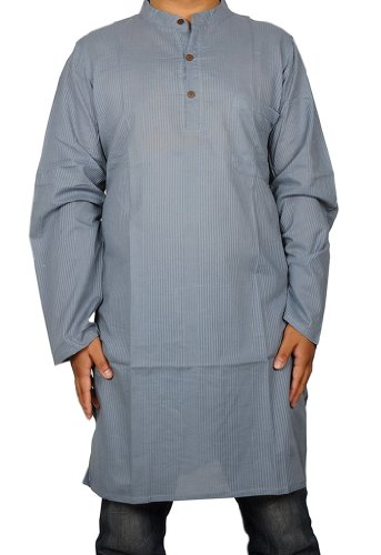 Designed Striped Mens Casual Cotton Indian Long Kurta Size 3XL