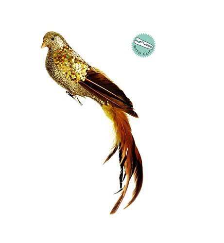14-gold-glitter-drenched-clip-on-bird-christmas-ornament-with-feathers-by-allstate