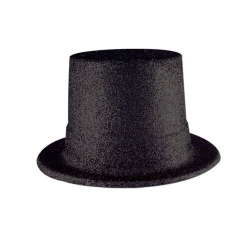 Glittered Top Hat (black) Party Accessory  (1 count)