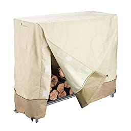Villacera High Quality 4 Foot Log Rack Cover, Beige and Brown