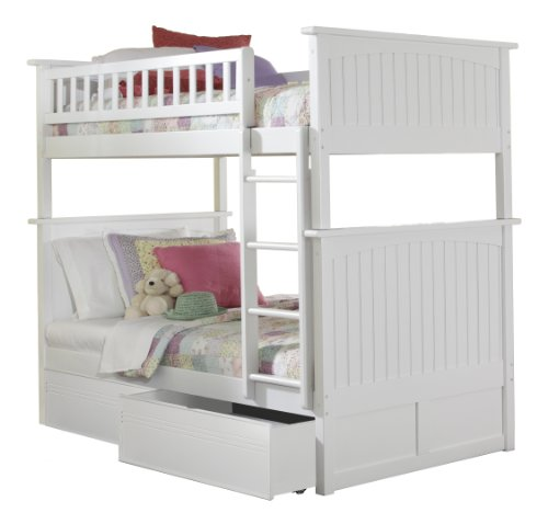 White Bunk Bed Twin Over Full 1423 front
