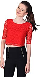 Unimod Women's Net Regular Fit Top (U072_Red_L, Red, L)