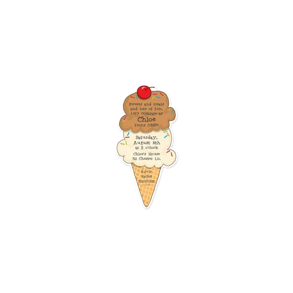 Childrens Birthday Party Invitations   Two Scoops Birthday Party Invitation