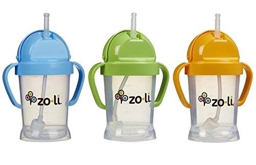 Zoli Baby BOT Straw Sippy Cup 6 oz - 3 Pack, Blue/Green/Orange