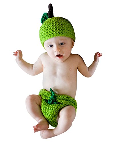 Photography Prop Baby Infant Costume Apple Crochet Knitted Hat Cap Diaper Green