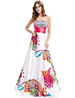 Ever Pretty Floral Printed Ruffles Sweetheart Neckline Sequins NWT Prom Gown 09633
