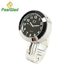 FeelGlad (TM) Universal Waterproof Motorcycle Handlebar Black Dial Clock Noctilucent 7/8\