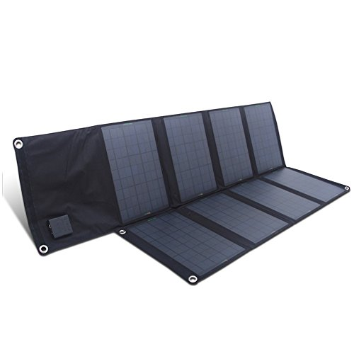 SUNKINGDOM™ 80W 2-Port DC USB Solar Charger with Portable Foldable Solar Panel PowermaxIQ Technology for iPhone, iPad, iPod, Samsung, Camera, and More (Black) (80w Solar Panel compare prices)