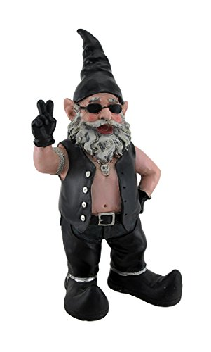 Gnoschitt The Biker Gnome Giving Peace Sign Garden Gnome Statue