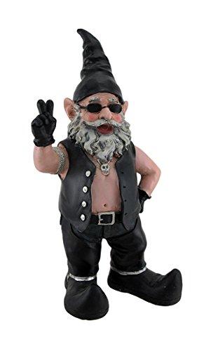Gnoschitt The Biker Gnome Giving Peace Sign Garden Gnome Statue