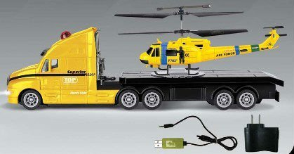 2-in-1, 3.5CH RC Helicopter + 4CH Truck Combo with Gyro (Yellow)