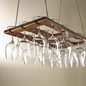Hanging Mahogany Wine Glass Rack (Wood Wine Glass Hanging Rack compare prices)