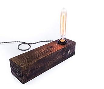 edison bulb desk lamp with wood base. Black Bedroom Furniture Sets. Home Design Ideas