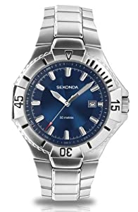 Sekonda Men's Quartz Watch with Blue Dial Analogue Display and Silver Stainless Steel Bracelet 3331.27