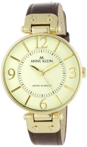 Anne Klein Women's 10-9168IVBN Brown Leather Quartz Watch with Beige Dial