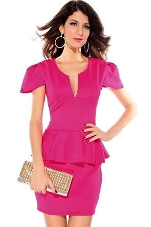 Women V-Neck Peplum Cap Sleeves Mini Dress (Medium, Dark Pink