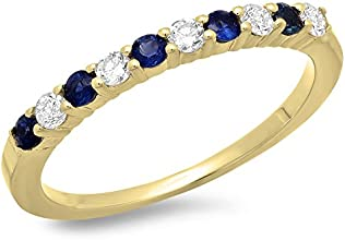 14K Gold Round Cut Blue Sapphire amp White Diamond Ladies Stackable Anniversary Wedding Band 12 CT