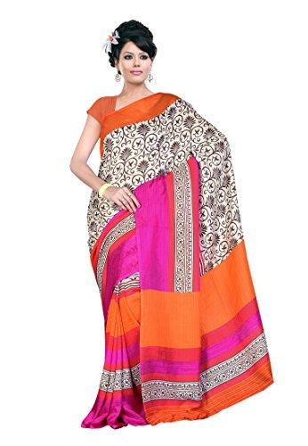 Fabdeal Pink & Orange Jute silk Printed Saree Sari Sarees