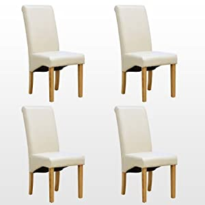 4 X CAMBRIDGE LEATHER CREAM DINING CHAIR W OAK FINISH WOOD LEGS ROLL TOP HIGH