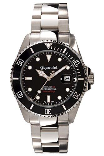 Gigandet Automatik Herren-Armbanduhr Sea Ground Taucheruhr Uhr Datum Analog Edelstahlarmband Schwarz Silber G2-002 10