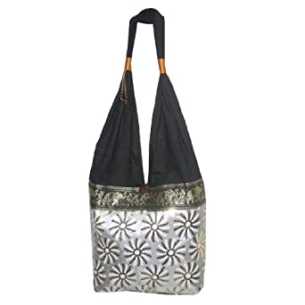 Beautiful Thai Exotic Elephant Sequined Flower Linen ZigZag Shoulder Slouch Bag