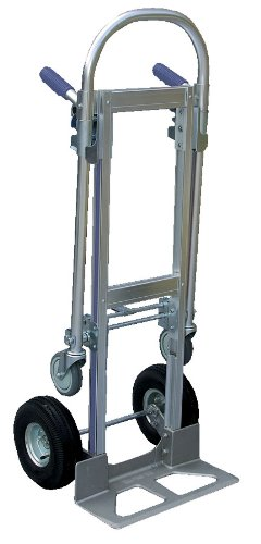Vestil ALUM-CONV Aluminum Convertible Hand Truck with Dual Handle, Rubber Wheels, 500 lb. Load Capacity, 52