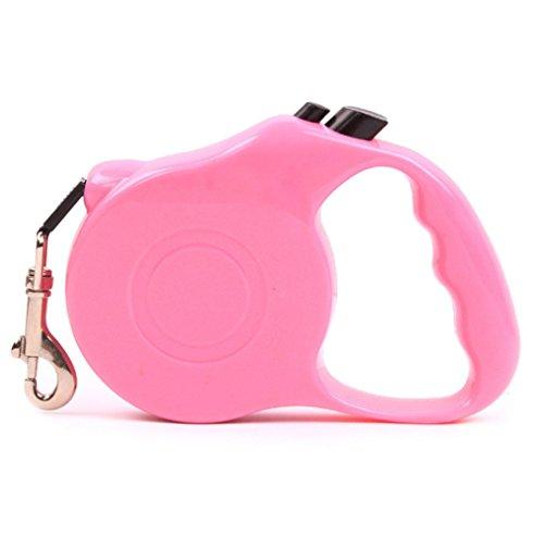 Allungabile guinzaglio guinzagli per da cane gatto taglia media piccola (3 o 5 metri) con fermo collare (L(5 M), Rosa) - Collare K9 Pelle