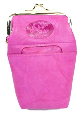 Buxton Heiress Collection Leather Cigarette Case with Lighter Pocket - Hot Pink