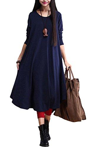 Nuovo autunno Voguees da donna, collo rotondo grande Hem-Maglione con vestito Verde verde