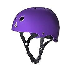 Triple 8 Brainsaver Glossy Helmet with Sweatsaver Liner (Purple Glossy, Medium)