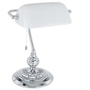 Tischlampe Halogen E27 60 W EGLO Banker Traditional Chrom, Weiß, 90968