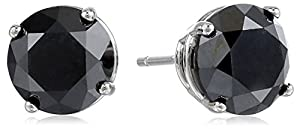 14k White Gold Black Diamond Stud Earrings (3.00 cttw)