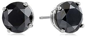 14k White Gold Black Diamond Stud Earrings (3.00 cttw)