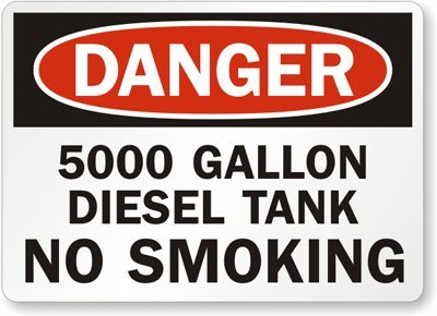 """5000 Gallon Diesel Tank No Smoking, Adhesive Signs And Labels, 5 Labels / Pack, 5"""" X 3.5"""""""
