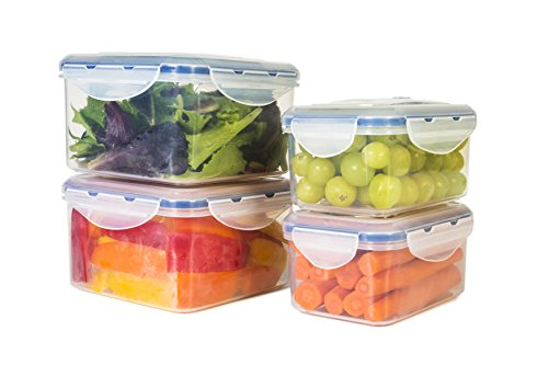 StoreFresh Vacuum-Sealed Food Storage Container -- Set of 4, Locking Lids, BPA Free, Airtight (Food Containers Vacuum compare prices)