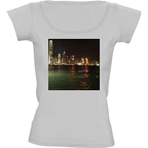t-shirt-pour-femme-blanc-col-rond-taille-m-hong-kong-horizon-by-cadellin