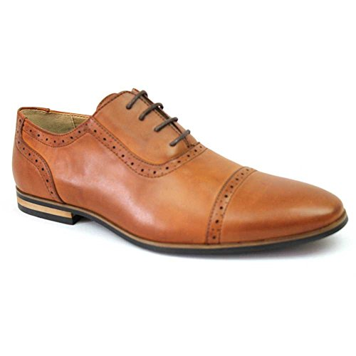 New-Mens-Cap-Toe-Detailed-Perforation-Dress-Shoes-Modern-Oxfords-By-Azar