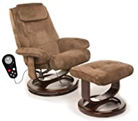 Relaxzen 60-078011 Leisure Massage Reclining Chair with Heat In Microsuede, Brown by Relaxzen