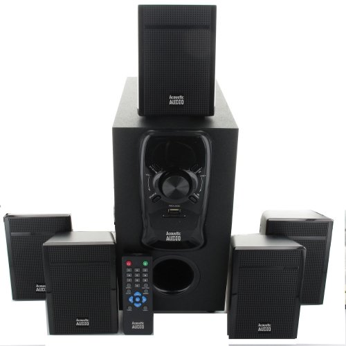 Acoustic Audio Aa5150 Home Theater 5.1 Speaker System 400W With Bluetooth And Powered Sub Aa5150B