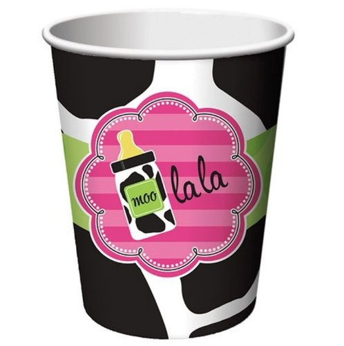 Creative Converting Baby Girl Cow Print Hot or Cold Beverage Cups, 8-Count