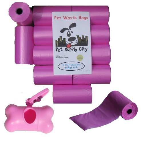 220 Pet Waste Bags, Dog Waste Bags, Bulk Poop Bags on a roll, Clean up poop bag refills - (Color: Pink) + FREE Bone Dispenser, by Pet Supply City LLC