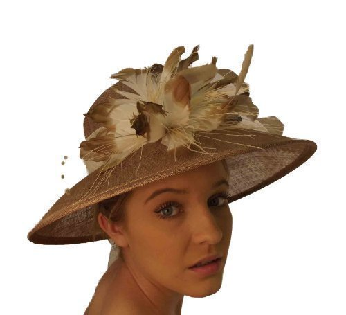 Campbell Cooper New Ladies Superb Wedding Events Fashion Flower & Feather Hat (Bronze/Ivory)