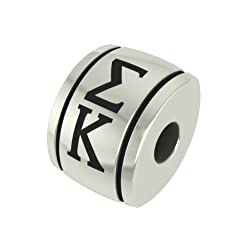 Sigma Kappa Barrel Sorority Bead Fits Most Pandora Style Bracelets Including Pandora Chamilia Biagi Zable Troll and More. High Quality Bead in Stock for Immediate Shipping